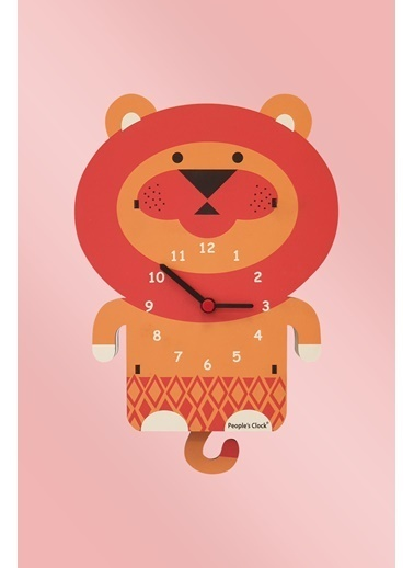 Peoples Clock Bebek Aslan Sallanan Sarkaçlı Çocuk Odası Duvar Saati Renkli